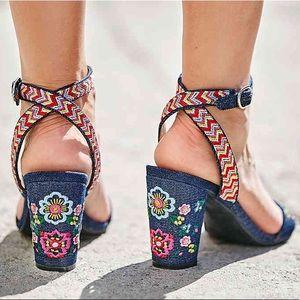Hierro Embroidered Block Heel Sandal